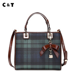 Wholesale blue cross small business - C&T brand 2018 new handbag female Simple all-match small totes Diana bag Trend fashion Plaid Canvas Inclined shoulder bag