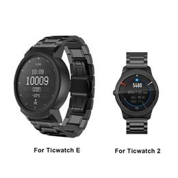Relógio de aço inoxidável borboleta de aço inoxidável on-line-Aço inoxidável Assista bracelete Band para Ticwatch 2 E relógio inteligente Butterfly Clasp Pulseira para ticwatch e 2 substituição pulseiras