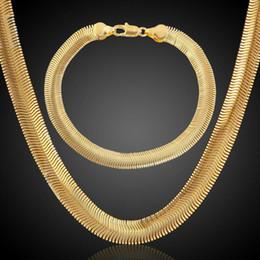 Wholesale 14k Gold Sapphire Bracelet - Flat Golden Necklace Copper Cuba Bracelet Set 18K Gold Plated Party Jewelry Perfect Gift Punk wedding Punk Chains Accessories wholesale