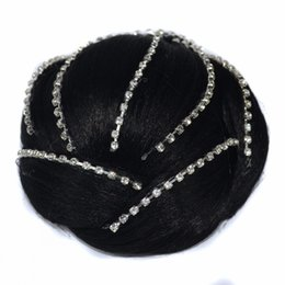 Accessori per capelli diamante delle signore online-Sara Glittering Diamond Chignon Lady Donna Clip in Hair Bun Extension Hairpiece Accessori per capelli Updo 12 * 5CM