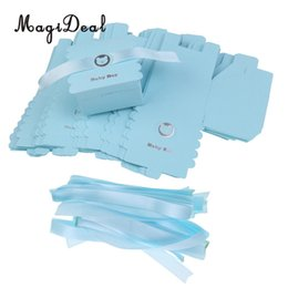 Wholesale boxes for sweets - Magideal 50pcs Lovely Paper Bear Baby Boy Sweet Candy Chocolate Boxes With Satin Ribbon For Baby Christening Baby Shower Decor