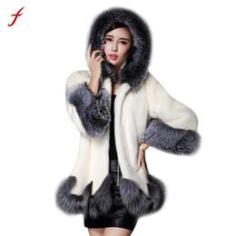 Wholesale Mink Fur Coat Hood - Wholesale-2017 Plus Size 6XL fashion faux fur coat women Silver Fox Fur Collar Hooded Mink Fur Coat Speaker sleeves woman Overcoat Hot