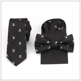 Canada cravate noeud papillon ensemble impression crâne hanky pochette mouchoir polyester bowknot handkie mariage rouge noir bleu Offre