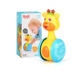 2019 tipos de brinquedos para bebês 12 meses Bebê chocalhos brinquedos crianças bonito amarelo pequeno cervo escorredor tumbler toys sino doce música educação aprendizagem toys presentes do bebê b0227