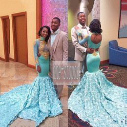 15b64df834 mint prom girl dress Promo Codes - 2018 Mint High Neck African Prom Dresses  Lace Appliques