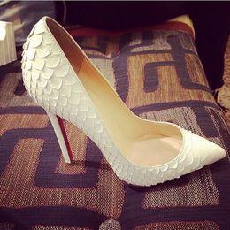 Wholesale Designer Bridal Shoes - 2018 Women Pumps Snake Shoes Woman Red Bottom Pointed Toe High Heels Shoes Luxury Designer Wedding Bridal Shoes Sexy High Heels EU 35-43
