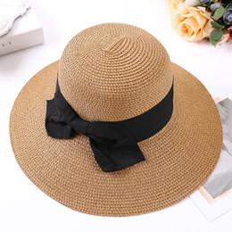Lady Boater sun caps Ribbon Round Flat Top Bucket Straw beach hat Panama  Hat summer hats for women straw snapback gorras b6973c511a65