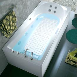 2019 bañera antideslizante 2018 Nuevo baño de ducha y bañera estera antideslizante de bañera de PVC con ventosa decoración para el hogar 40 * 100 cm 6 colores HH7-1048 bañera antideslizante baratos