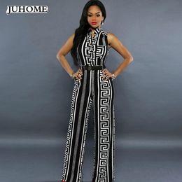 c664bfb8cae 2018 new autumn rompers womens jumpsuit Elegant One Piece long wide leg  Party bandage printed white black fashion nova dungareesY1882902