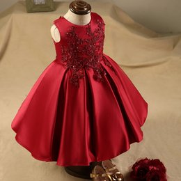 Wholesale Tea Length Holy Communion Dresses - 2018 Adorable Satin Burgundy Jewel Flower Girl Dresses Tea Length A Line Kids Holy First Communion Prom Party Gowns