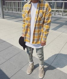 Wholesale Men S Plaid Flannel Shirt - 2017 Hip Hop Most popular justin bieber fear of god fog Men unisex flannel Long-sleeved plaid oversized dress shirt red yellow