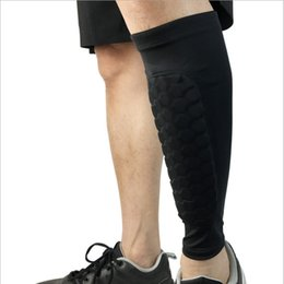 Wholesale compression brace - 1 pair Professional Sport Soccer Football Protector Breathable Calf Compression Shin Guard Support Pads Leg Sleeves Sock Brace