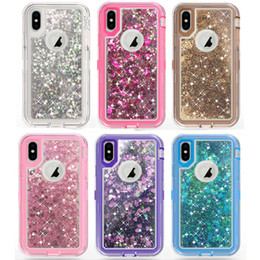 Wholesale Bling Blackberry Covers - For iPhone X 8 7 Plus 6 6s Plus Samsung Note 8 S8 Plus Bling Liquid Quicksand Crystal Robot Case Defender Hybrid Cover