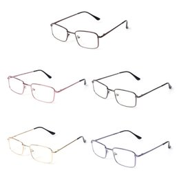 ecd0a7cf04 rectángulo claro lente Rebajas Rectángulo Clear Lens Glasses Metal Frame  Vintage Gentle Women Men Business Style