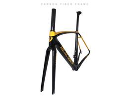 Wholesale carbon road bike frameset sale - Deacasen 2018 new top sales T1000 color gold racing full carbon road frame BSA68 BB30 PF30 Carbon frameset weave UD glossy