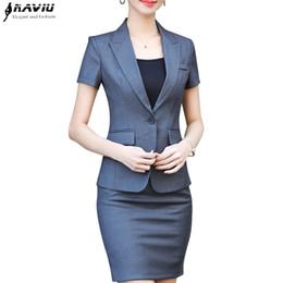 Desgaste do escritório novo on-line-NAVIU Nova moda feminina saia terno duas peças set top de manga curta e saia para o escritório de verão senhoras desgaste do trabalho uniforme