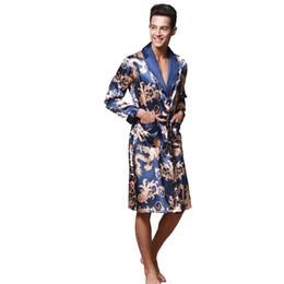 Argentina Buena calidad azul de seda masculina Kimono Kaftan Robe vestido de los hombres chinos Rayón ropa de dormir Turn-down Collsr ocio suelto ropa de dormir cheap blue male kimono Suministro