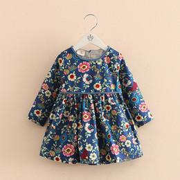 Bambine che vestono l'inghilterra online-Le bambine vestono il vestito etnico dalla ragazza della manica lunga floreale di stile dell'Inghilterra per il vestito etnico da bambini delle ragazze dei vestiti dell'abbigliamento