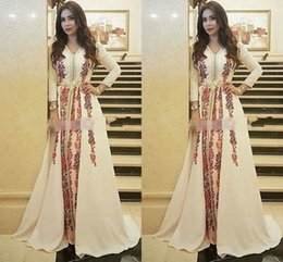 Wholesale Embroidery Caftan - New Evening Dresses Moroccan Caftan Kaftan Amazing Embroidery V-neck Occasion Prom Formal Gown Dubai Abaya Arabic Long Sleeve Prom Dresses