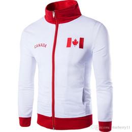Frühling Bomber Jacke weiß rot Männer Baumwolle Männer Mantel Hochzeit gedruckt Kanada Flagge Baseball Mantel Jacke Marke Kleidung Herren Jacken