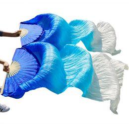 fans de danse du ventre Promotion 2018 femmes de haute qualité chinois voile de soie fans de danse Paire de fans de danse du ventre pas cher vente chaude 180 * 90 cm accessoires de danse à la main