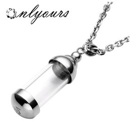 """Wholesale Glass Keepsake - Stainless Steel Glass Container pendant 24"""" Cylinder Tube Urn Memorial Pendant Necklace Memorial Ash Keepsake Cremation Jewelry"""