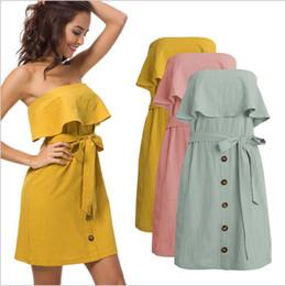 9118a8f7cc7120 Dresses Women Summer Lotus Leaf Dress Lady Off Shoulder Casual Dresses Sexy  Fashion Sleeveless Dress Cotton Linen Mini Dress With Belt B4134 discount  cotton ...