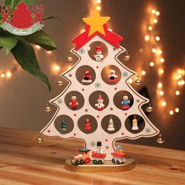 2019 glitterband großhandel rot Weihnachten Dekoration DIY Weihnachtsbaum mit Miniatur Holz Ornamente Weihnachten Tisch Schreibtisch Dekoration Weiß