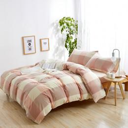 Wholesale aqua print comforter - 100% Washed Cotton Bedding Set Bedcover Sets Plaid Duvet Cover Sets Bed Sheets Adults Kids Housse De Couette King Queen Twin