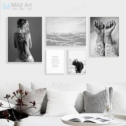 Wholesale Sea Poster Landscape - Black White Girl Figure Tattoo Sea Landscape Poster Print Nordic Living Room Wall Art Picture Home Deco Canvas Painting No Frame