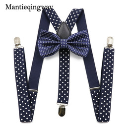 Wholesale wholesale suspenders for men - Mantieqingway Unisex Suspenders Bow Ties for Men Women Polyester Wedding Polka Dots Printed Bowtie Suspender Set Elastic Straps