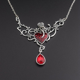 Wholesale wholesale beauty beast - Enamel heart Love Beauty Necklace Antique Silver Rose Crystal Drop the Beast Fashion Jewelry Drop Shipping