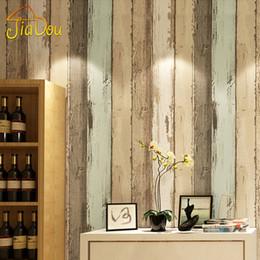 2019 papel fotográfico em fibra Padrão de madeira do vintage moderno listrado não-tecido de fibra papel de parede rolo para 3d sala de estar quarto foto papel de parede decoração de casa