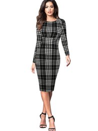 Wholesale Ladies Plaid Dresses - MAYFULL S-2XL QUALITY Women o-neck full sleeve empire plaid dress lady spring brief work office formal pencil dress plus size