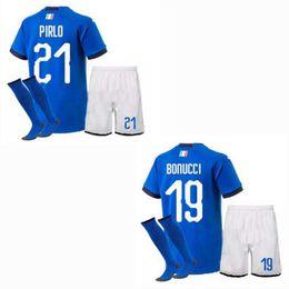 807b54255 2018 2019 Italy kids Soccer jersey BONUCCI PIRLO BUFFON INSIGNE VERRATTI  CHIELLINI home away boys Football shirt