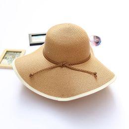 ac6ed0e19fc Women s Straw Hats Fashion Newest Summer Beach Floppy Straw Hats For  Travelling Adjustable Wide Brim Hat Foldable Khaki Hats