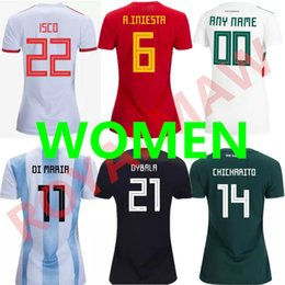 12a09de7aed 2018 Spain Mujer Camiseta Argentina Home Away Soccer Jersey México Football  Shirt Camisa de Futbol DYBALA ISCO Mexico Women Lady Girl Female