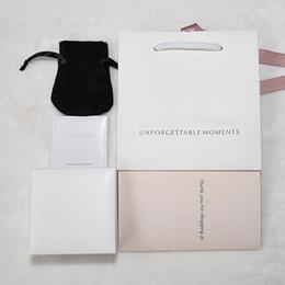 pandora armband halskette gesetzt Rabatt Original Schmuck Box Set Silber Poliertuch Velvet Tasche Papers für Pandora Snake Chain Armband Armreif Halskette Geschenkboxen