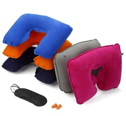 Wholesale U Shaped Seating - Wholesale factory price 3in1 Travel Office Set Inflatable U Shaped Neck Pillow Air Cushion + Sleeping Eye Mask Eyeshade + Earplugs