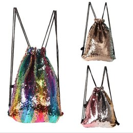Wholesale wholesale gift shops - Mermaid Sequins Drawstring Bag Climbing Hiking Fitness Shopping Pack Gift Bags colorful Reversible Sequins backpack KKA3865