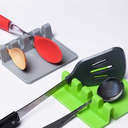 Porta cuchara cuchara online-Cuchara de Silicona Aislamiento Mat Espátula Pala Pad Cuchara Resto Tapa Titular Vajilla Almacenamiento Rack Pan Palillos Organizador