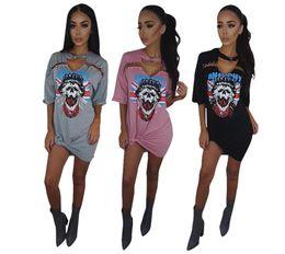 Wholesale Offset Mini - pink Women Clothes Fashion High-quality Dresses Offset print skulls head pin street style cotton dress 3 colors, noah shark skirt