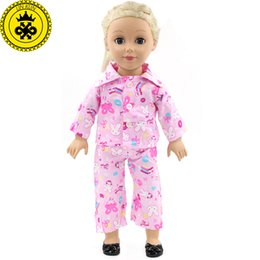 Wholesale Pink Doll Clothing - American Girl Dolls Cute Kitty Pink Pajamas Doll Accessories Madame Alexander Doll Clothes Fit 18 inch Clothes MG-254