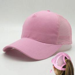 Wholesale Pink Pony Tail - Hot Sell Women Ponytail Baseball Hat Fashion Girl Softball Hats Back Hole Pony Tail Drop Shipping Cheap Beanie Skull Caps Sun Hat DIY Caps