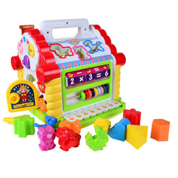 Wholesale Houses Drawings - BOHS Multifunctional Musical Toys Colorful Baby Fun House Musical Electronic Geometric Blocks Sorting Learning Educational Toys