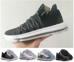 Wholesale Brown School Shoes - 2018 New Zoom KD 10 Anniversary PE Oreo Red Men Basketball Shoes KD 10 X Elite Low Kevin Durant Grade School Sport Sneakers