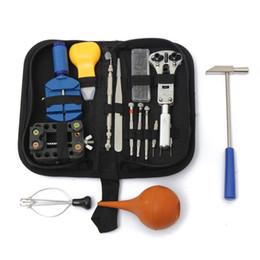 Outils de kits de réparation de montre professionnelle en Ligne-Kit professionnel outil de réparation de montres 16pcs / set avec sac de rangement Watch Case Holder Case ouverture couteau à bande lien Pin Remover Set