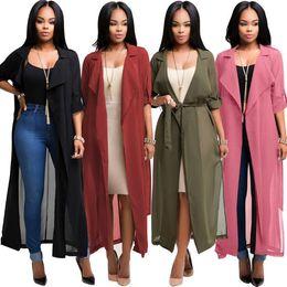 Wholesale Casual Long Sleeve Tops - Women Chiffon Long Sleeve Cardigan Jacket Coat Blouse Tops Casual Coat Loose Tops Chiffon Jacket LJJK863