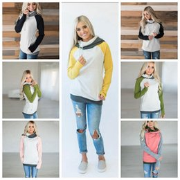 Wholesale fashion finger sleeve - Women Finger Hoodie Coats Side Zipper Patchwork Lace Up Long Sleeve Pullover Winter Blouses Outdoor Sweatshirts Outwear 5 Colors OOA4190