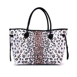 b7a273a0eebe Black Symmetrical Leopard Tote Wholesale Blanks String Canvas Leopard  Handbag Brown Handle Purse in 2 Colors DOM106874